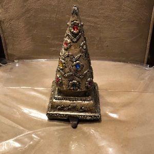 Beautiful Jeweled Christmas Tree Stocking Hanger🎄